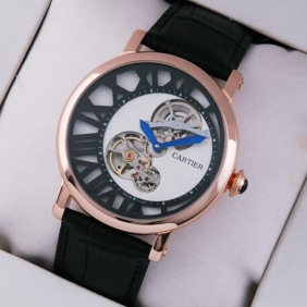 Rotonde de Cartier 18K Rose Gold White-Black Dial Black Leather Strap Tourbilon Watches replica