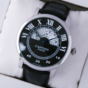 Rotonde de Cartier Day-Night Collection Privee Black Dial Steel Mens Watches fake
