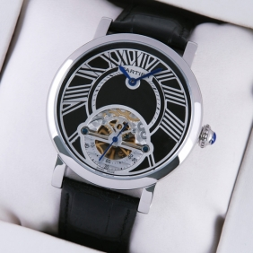 Rotonde de Cartier Stainless Steel Black Dial & Leather Strap Tourbillon Mens Watches cheap