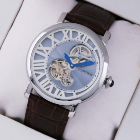 Rotonde de Cartier Stainless Steel Blue-White Dial Brown Leather Strap Tourbilon Watches fake