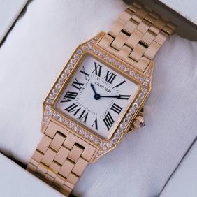 SWISS Cartier Santos Demoiselle Diamonds 18K Rose Gold Mens Watches replica