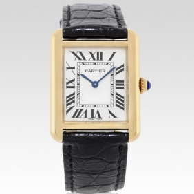 Stylish Tank Solo Cartier Ladies Silver Dial Gold Case Watch 2014