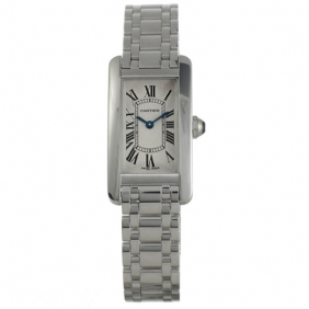 Best Tank Americaine Cartier White Gold Diamond Inlay Watch Cheap