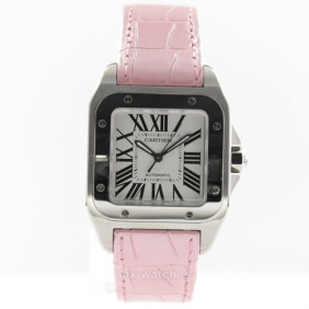 Cheap Ladies Cartier Santos Pink Leather Strap Watch Replica
