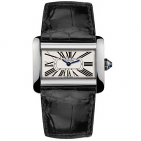 Discount Tank Divan Cartier Ladies Black Leather Strap Watch Replica