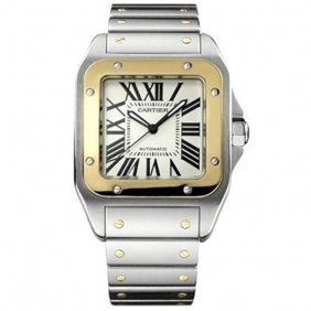 Online Sale Fake Cartier Santos Series Mens Watch White Dial Steel Bezel