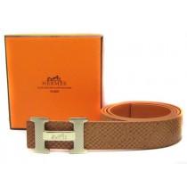 Light Brown Hermes Crocodile Belt With Gold H Buckle H80025