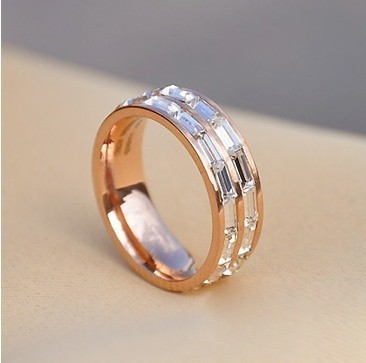 Cartier 18k Pink Gold Wedding Band Set with 3 Row Baguette-Cut Diamonds