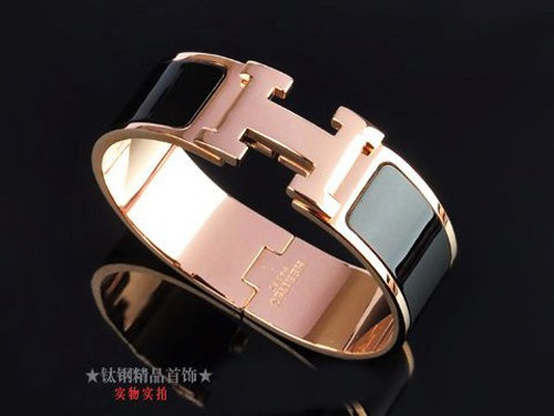 Hermes LOGO Bangle Black Color With Pink Gold, Wide