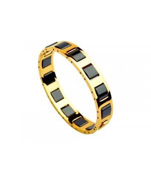 Bulgari Bangle in 18kt Yellow Gold with Full Black Ceramics, Narrow