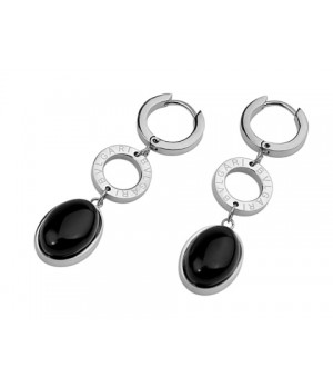 Inspired Bvlgari Drop Earrings in 18kt White Gold with Black Onyx