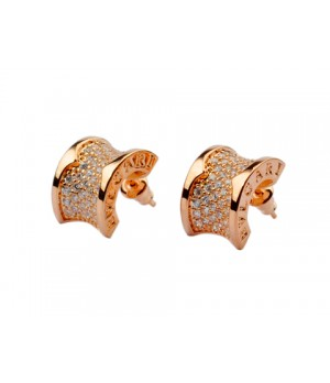 Bulgari B.zero1 Earrings in 18kt Pink Gold with Pave Diamonds OR856238