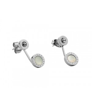 Bulgari-Bvlgari Stud Earrings in 18kt White Gold with Mother of Pearl and Diamonds