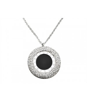Bvlgari Pendant Necklace in White Gold with Black Onyx & Pave Diamonds