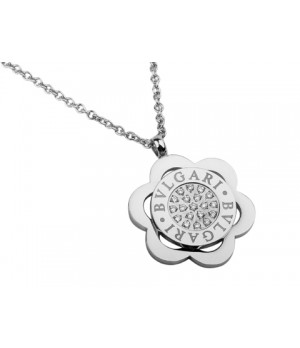 Bvlgari Bulgari Flower Pendant with a Chain in 18kt White Gold with Pave Diamonds