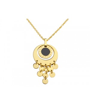 Bvlgari Pendant with a Chain in 18kt Yellow Gold with Black Onyx
