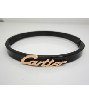 Designer Cartier LOGO Bracelet in 18kt Pink Gold and Black