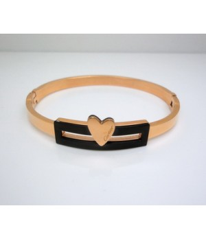 Designer Cartier Heart Bracelet in 18kt Pink Gold with Black Marble