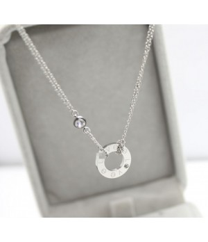 Cartier LOVE Circle Necklace, 18K White Gold With Diamonds