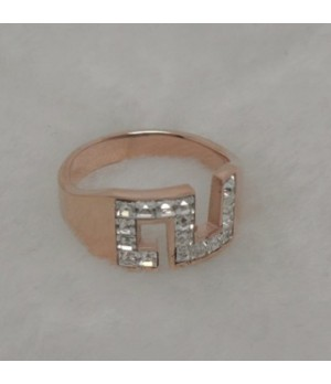 """Inspire Cartier Figure """"3"""" Luckly Ring, Pink Gold With Baguette-Cut Diamonds Paved"""