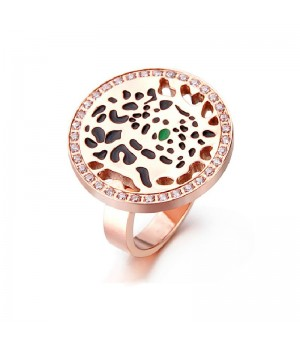 Cartier Panthere Ring in 18K Pink Gold Set with Diamonds, One Tsavorite Garnet Eye and Black Lacquer Spots