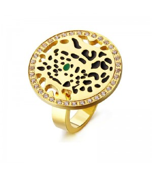 Cartier Panthere Ring in 18K Yellow Gold Set with Diamonds, One Tsavorite Garnet Eye and Black Lacquer Spots