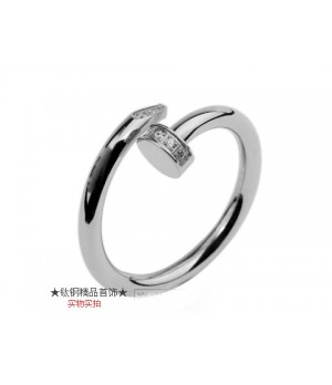 Cartier Juste Un Clou Ring in 18kt White Gold With Diamond-Paved
