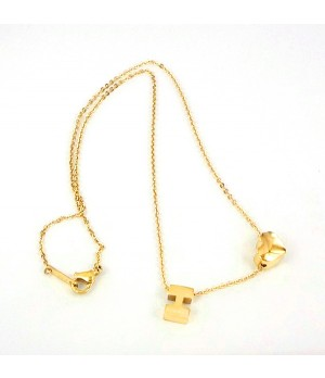 Hermes H logo with heart cham necklace,18K yellow gold