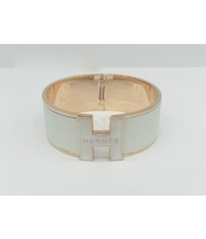 "Hermes ""H"" Logo Bangle, White with 18k Rose Gold"