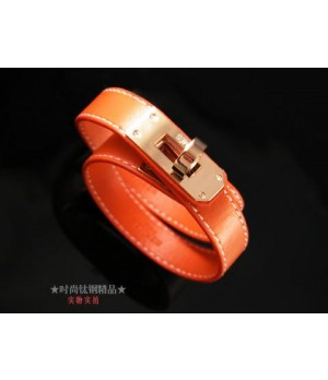 Classic Hermes Orange Leather Bracelets With Rose Gold Turn Buckle