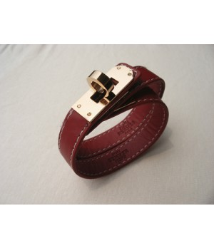 Classic Hermes Red Leather Bracelets With Rose Gold Turn Buckle