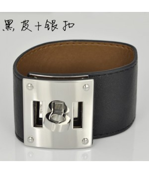 Hermes Black Leather Bracelets With White Gold Turn Buckle, Wide