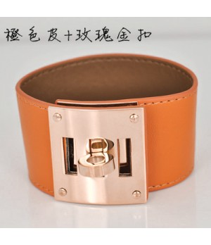 Hermes Orange Leather Bracelets With Pink Gold Turn Buckle, Wide