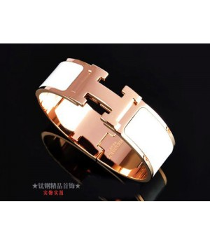 Hermes LOGO Bangle White Color With Pink Gold, Wide