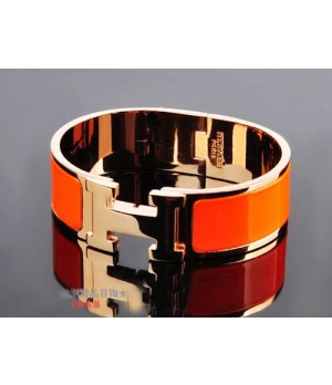 Hermes LOGO Bangle Orange Color With Pink Gold, Wide