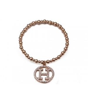 Hermes Logo Pendant Bracelet in Pink Gold with Pave Diamonds
