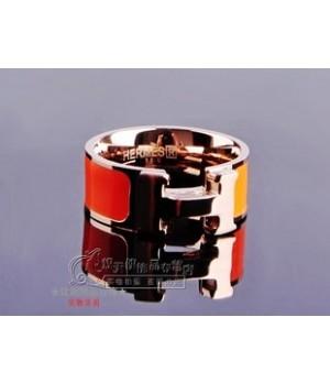 "Hermes ""H"" Ring, Orange Enamel with 14K Rose Gold"