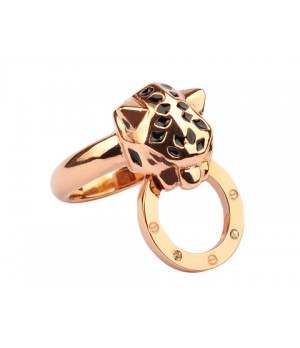 Cartier Panthere Ring in 18kt Pink Gold with Black Lacquer and Diamonds
