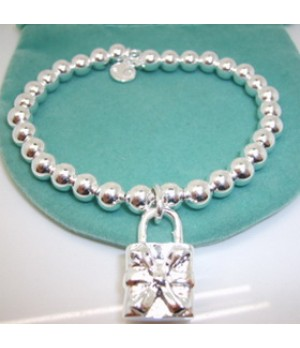Tiffany Lock Charm 6mm Bead Chain Bracelet Outlet