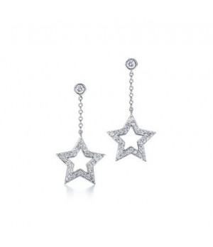 Tiffany pentagram inlaid stone earrings