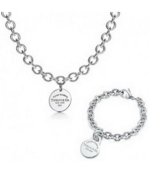 Tiffany Round Tag Bracelet And Necklace set wholesale