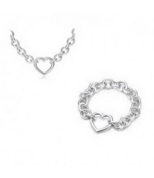 Tiffany Round Link With Heart Bracelet And Necklace set replica