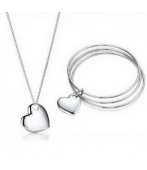 Tiffany Double Heart Necklace And Bracelet set knockoffs