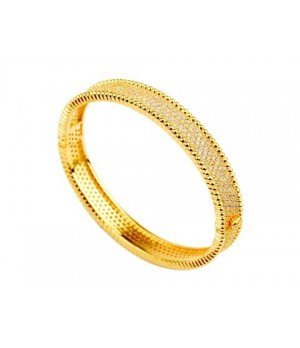 Van Cleef & Arpels Perlee Diamond Bracelet in 18kt Yellow Gold, Medium Model