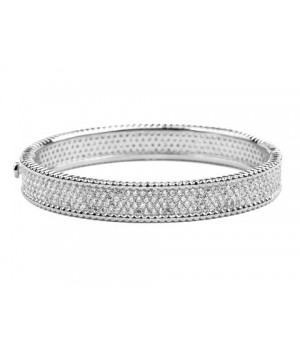 Van Cleef & Arpels Perlee Diamond Bracelet in 18kt White Gold, Medium Model