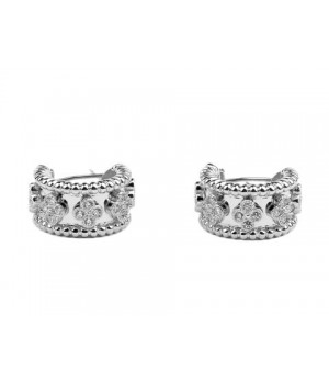 Van Cleef & Arpels Perlee Diamonds Earrings in 18kt Pink Gold with Pave Diamonds