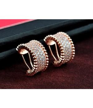 Van Cleef & Arpels Perlee Diamonds Earrings in 18kt Yellow Gold with Pave Diamonds