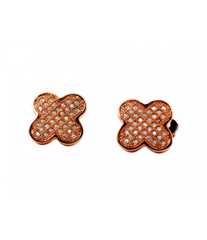 Van Cleef & Arpels Perlee Stud Earrings in 18kt White Gold with Pave Diamonds