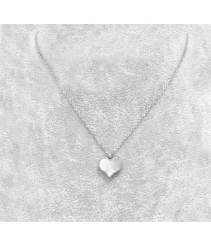 Van Cleef & Arpels Sweet Alhambra Heart Charm Necklace in White Gold with Mother of Pearl