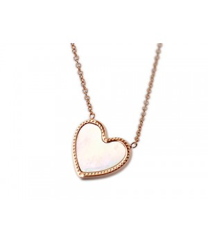Van Cleef & Arpels Sweet Alhambra Heart Mini Pendant, Pink Gold with White Mother of Pearl This enchanting pendant features a heart motif in white mother-of-pearl set in pink gold.